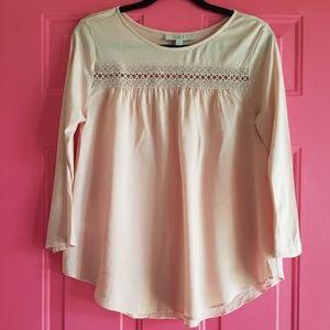 Loft pink 3/4 mixed media shirt